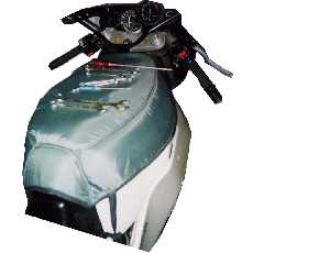 Photo showing motorcycle tank cover on a motorbike.